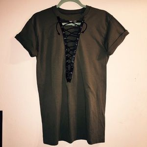 Better be - army green lace up tunic